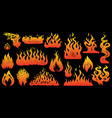 flame and fire set in vintage style hand drawn vector image vector image