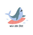 funny cartoon surfing shark in a flat style vector image