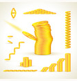 gold coins in different compositions set vector image