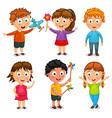 group happy kids cartoon vector image