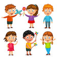 group of happy kids cartoon vector image