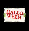 halloween zombie hand holding white sheet green vector image vector image