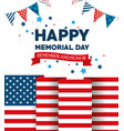 happy memorial day with flag vector image vector image