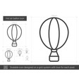 hot air balloon line icon vector image vector image