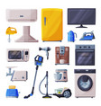 household appliances set air conditioner toaster vector image