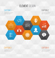 human icons set collection of coin businesswoman vector image vector image
