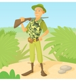 Hunter with rifle on shoulder concept vector image