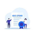 iso 27001 certificate and people vector image vector image