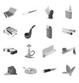 isolated object equipment and smoking icon set vector image vector image