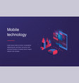 isometric mobile phone smart and simple web vector image vector image
