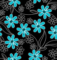Light blue flowers on black and white embroidery vector image vector image