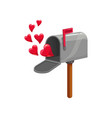 mail box red flag and hearts vector image