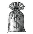 money bag hand draw vintage engraving isolated vector image
