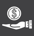money in hand glyph icon business and finance vector image vector image