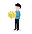 Person with box sending parcel