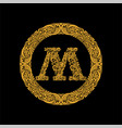 premium elegant capital letter m in a round frame vector image vector image