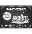 Premium quality sandwiches on chalkboard vector image vector image