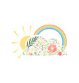 rainbow sun and cloud made floral seamless vector image vector image