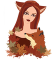 Red fox and girl with big eyes and long red hair vector image vector image