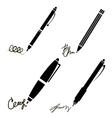 Signature Pen Pencil Icons vector image