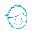silhouette happy man face with hairstyle vector image