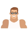 smiling man with sunglasses icon vector image vector image
