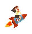 smiling successful businesswoman on a rocket vector image vector image