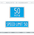 speed limit 50 miles traffic sign vector image