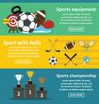 sport equipment banner horizonatal set flat style vector image vector image