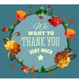Thank you card with beautiful vintage flowers vector image vector image