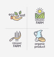 the flat linear set of logos natural products vector image vector image