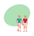 two handsome blond soccer players teammates vector image vector image