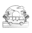 vintage van vehicle on sunset landscape vector image