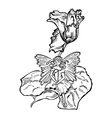 winged fairy sit in a flower leaf vector image
