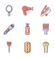 woman hairdresser tools icons set flat style vector image vector image