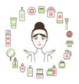 woman in headband inside circle of cosmetic means vector image vector image