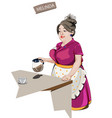 woman waitress serving coffee cartoon vector image