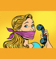 woman with bandage on mouth and phone vector image