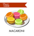 delicious colorful macaroni from french cuisine on