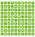 100 lumberjack icons set grunge green vector image vector image