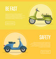 be fast flyers with classic city mopeds vector image vector image
