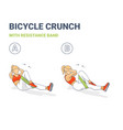 bicycle crunch abs with resistance band girls