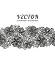 black seamless lace border with flowers on white vector image