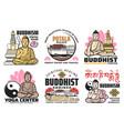 buddhism religion buddha lotus palace icons vector image vector image
