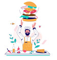 burger making flat style design vector image