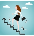 Businesswoman on stairs Success concept vector image