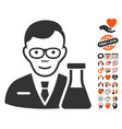 chemist icon with lovely bonus vector image vector image