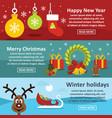 christmas year banner horizonatal set flat style vector image vector image