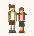 couple teen standing happy cartoon graphic vector image vector image