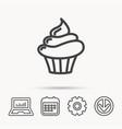 cupcake icon dessert cake sign vector image